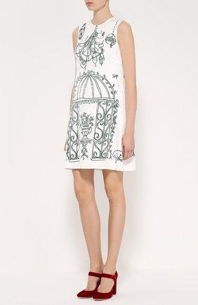 Мини-платье А-силуэта с контрастным принтом | Фото №3
