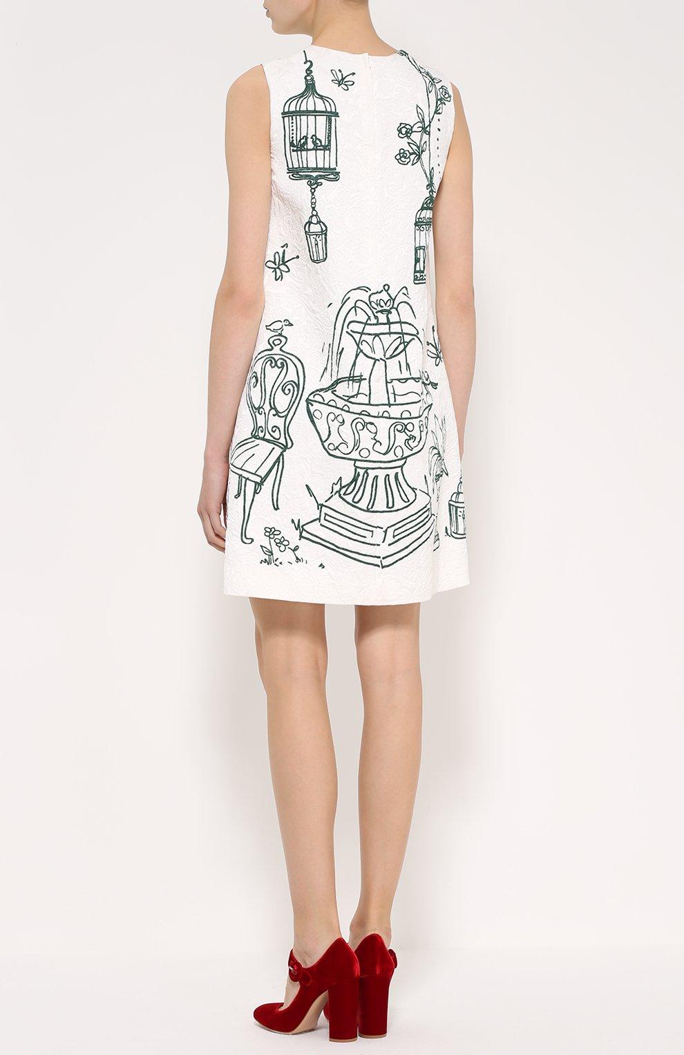 Мини-платье А-силуэта с контрастным принтом | Фото №4