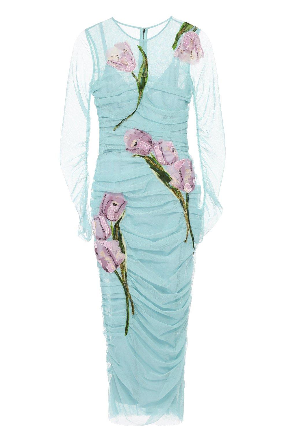 Драпированное платье-футляр с цветочной отделкой | Фото №1