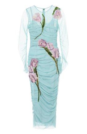 Драпированное платье-футляр с цветочной отделкой Dolce & Gabbana бирюзовое | Фото №1