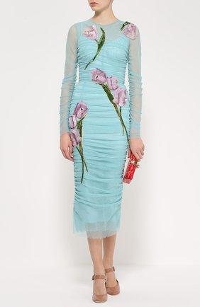 Драпированное платье-футляр с цветочной отделкой Dolce & Gabbana бирюзовое | Фото №2