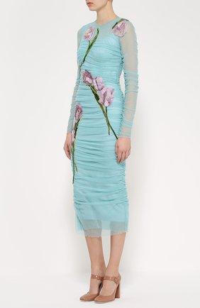 Драпированное платье-футляр с цветочной отделкой Dolce & Gabbana бирюзовое | Фото №3