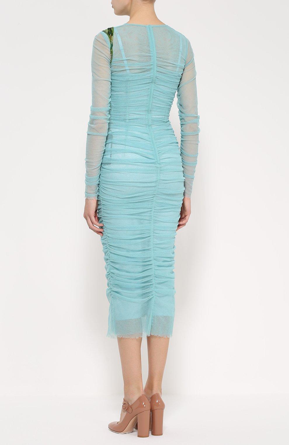 Драпированное платье-футляр с цветочной отделкой Dolce & Gabbana бирюзовое | Фото №4