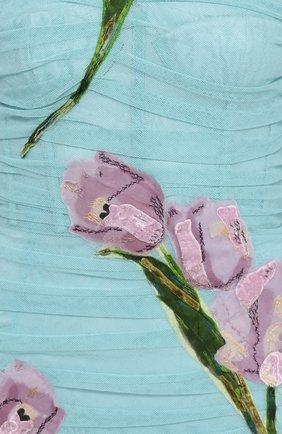 Драпированное платье-футляр с цветочной отделкой Dolce & Gabbana бирюзовое | Фото №5