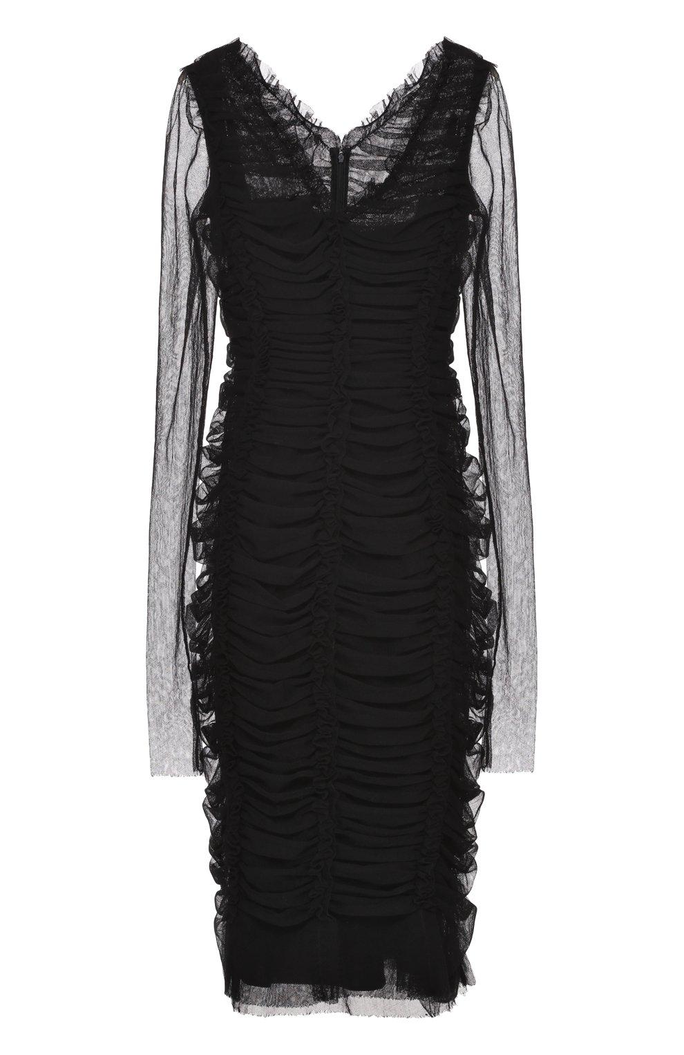 Драпированное платье-футляр с V-образным вырезом | Фото №1