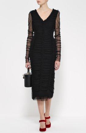 Драпированное платье-футляр с V-образным вырезом | Фото №2
