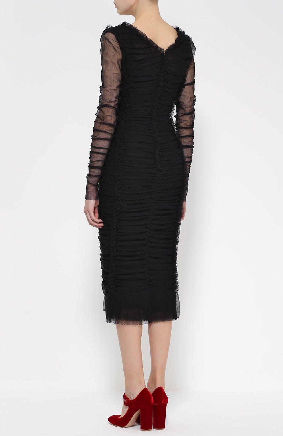 Драпированное платье-футляр с V-образным вырезом | Фото №4