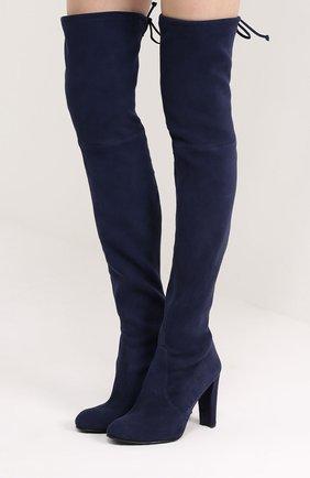 Замшевые ботфорты Highland на шнуровке Stuart Weitzman синие | Фото №1