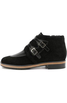 Замшевые ботинки с ремешками из кожи | Фото №1