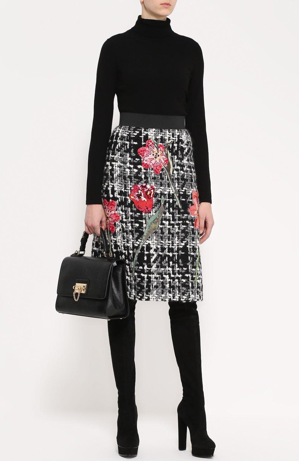 Сумка Monica с тиснением под игуану  Dolce & Gabbana черная цвета | Фото №2