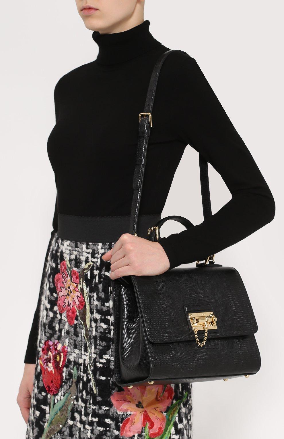 Сумка Monica с тиснением под игуану  Dolce & Gabbana черная цвета | Фото №5