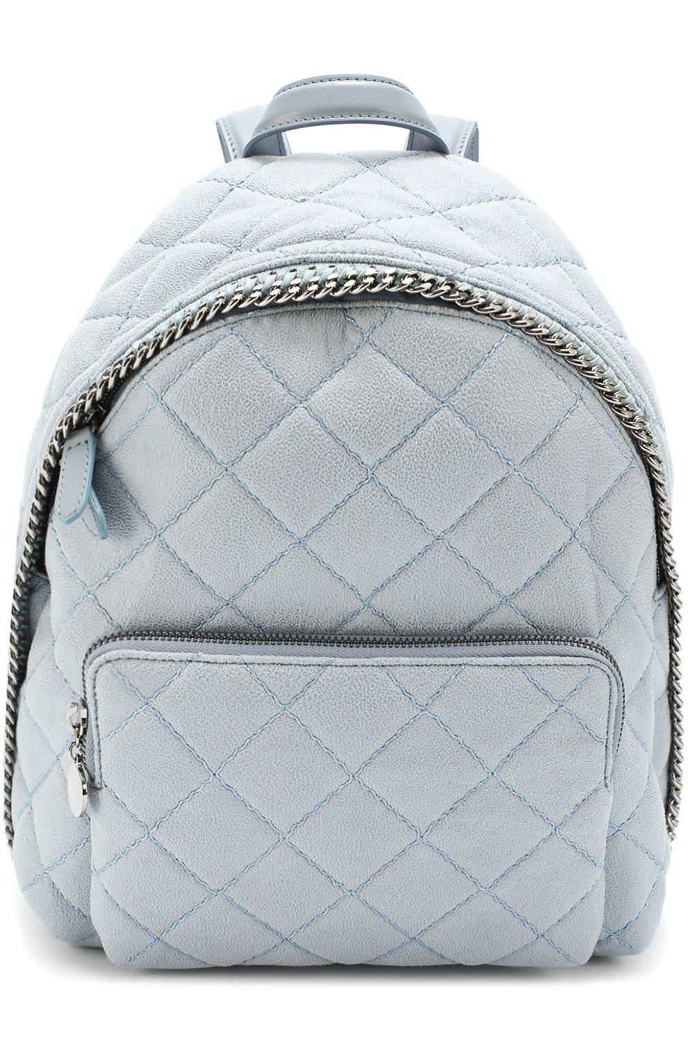 2dde3c44a377 Стеганый рюкзак Falabella mini из эко-кожи Stella McCartney светло-голубой  | Фото №