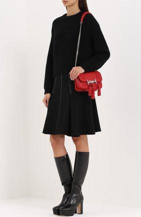 Сумка Double T Mini с плетением и кистями Tod's красная цвета | Фото №2