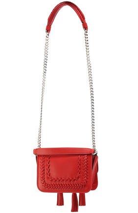 Сумка Double T Mini с плетением и кистями Tod's красная цвета | Фото №3
