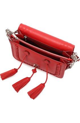 Сумка Double T Mini с плетением и кистями Tod's красная цвета | Фото №4