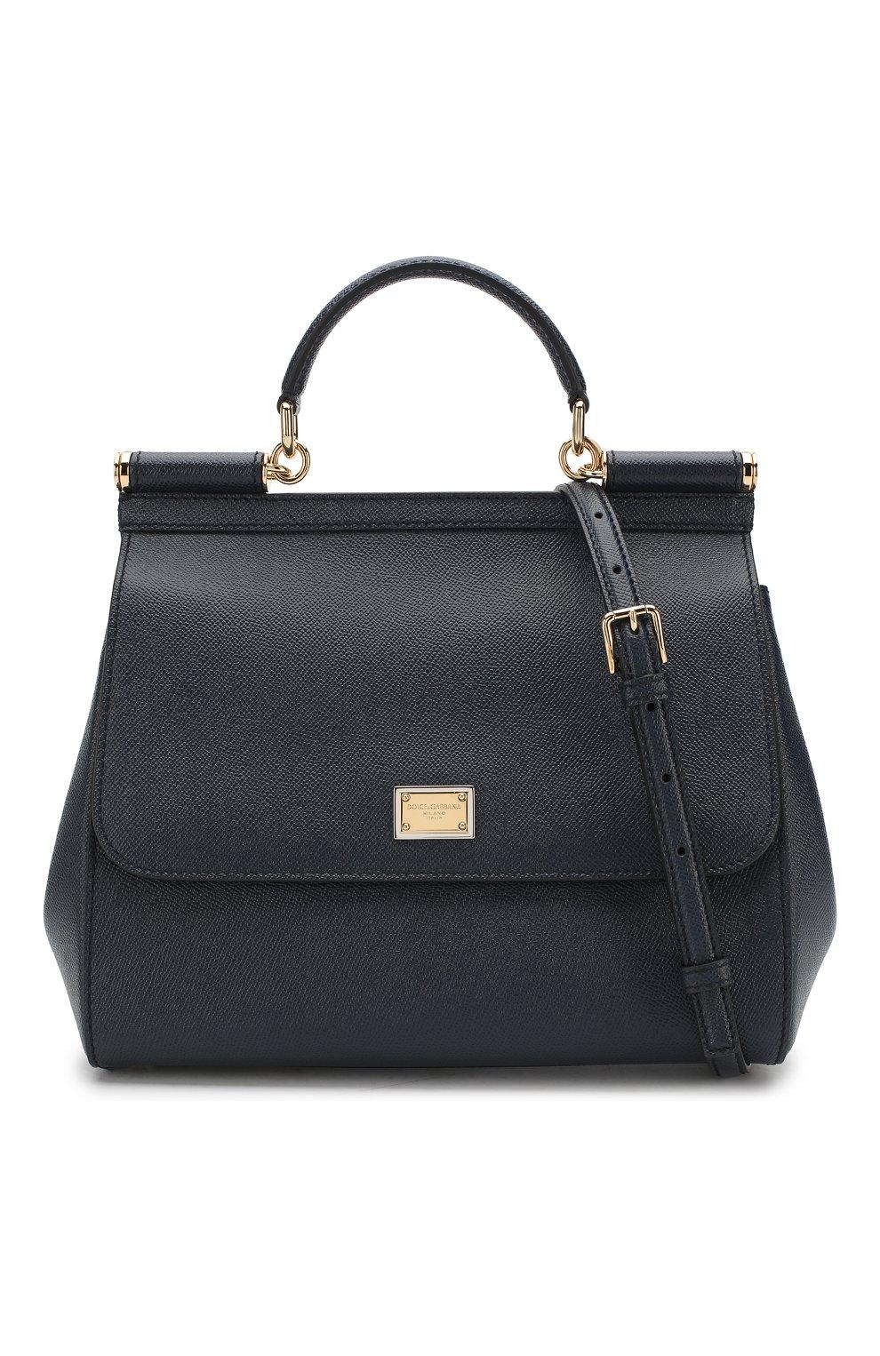 Сумка Sicily medium new Dolce & Gabbana темно-синяя цвета   Фото №6
