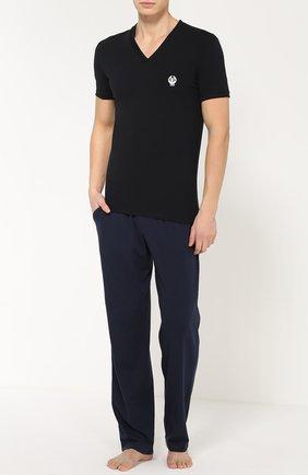 Хлопковая футболка с V-образным вырезом Dolce & Gabbana черная | Фото №2