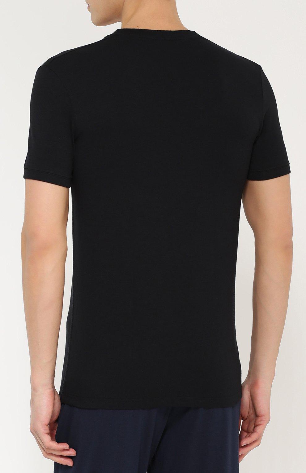 Хлопковая футболка с V-образным вырезом Dolce & Gabbana черная | Фото №4