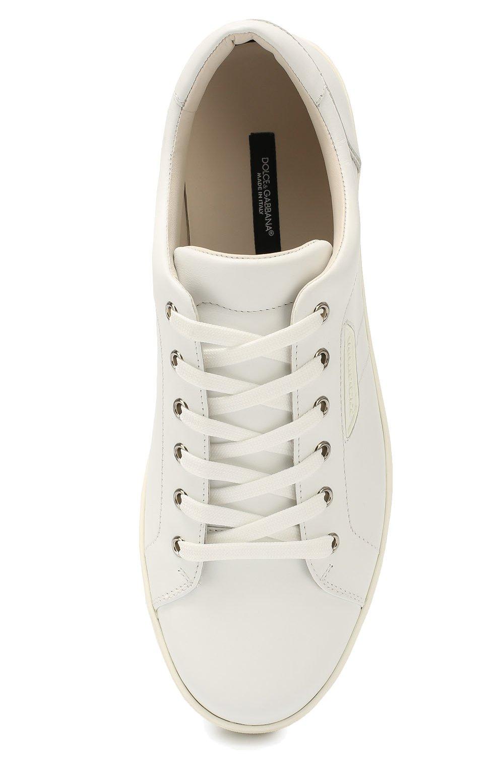 Кожаные кеды London на шнуровке Dolce & Gabbana белые | Фото №4