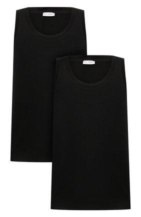 Мужская комплект из двух хлопковых маек с круглым вырезом DOLCE & GABBANA черного цвета, арт. 0121/N9A11J/00025 | Фото 1