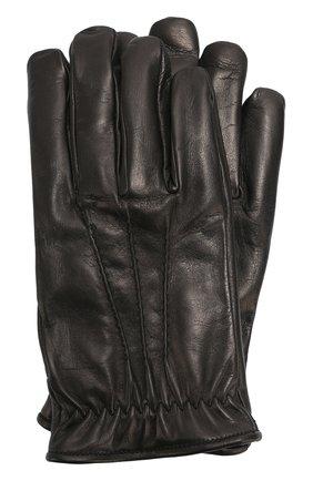 Мужские кожаные перчатки с подкладкой из кашемира BRIONI черного цвета, арт. 05R8/04752 | Фото 1