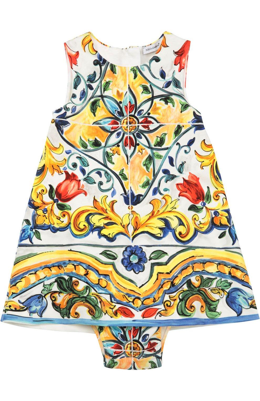 Комплект из платья и трусов с принтом Majolica | Фото №1
