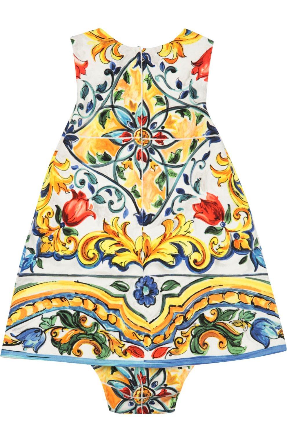 Комплект из платья и трусов с принтом Majolica | Фото №2