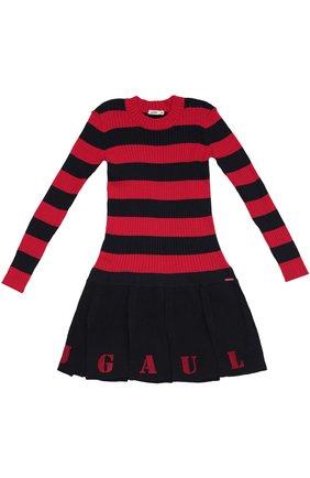 Детское платье джерси в полоску Jean Paul Gaultier синего цвета | Фото №1