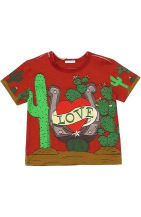 Детская хлопковая футболка с принтом Dolce & Gabbana красного цвета | Фото №1