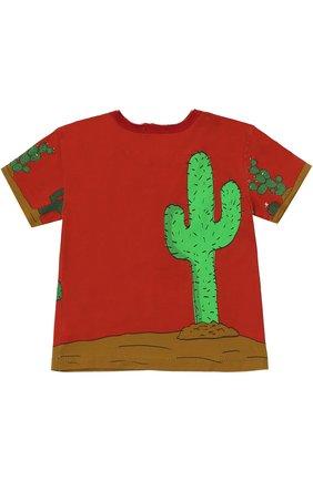 Детская хлопковая футболка с принтом Dolce & Gabbana красного цвета | Фото №2