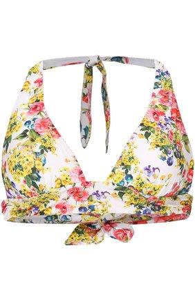 Треугольный бра с цветочным принтом Dolce & Gabbana белый | Фото №1