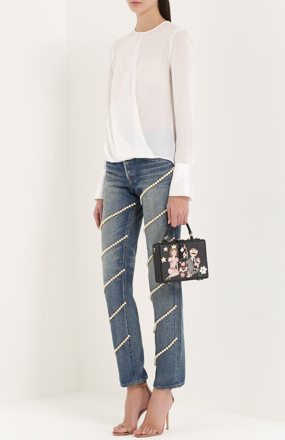 Сумка Dolce Box с аппликацией DG Family Dolce & Gabbana черная цвета | Фото №2