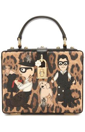 Сумка Dolce Box с аппликацией DG Family Dolce & Gabbana леопардовая цвета   Фото №1