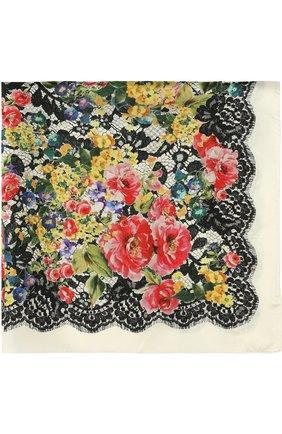 Шелковый платок с принтом Dolce & Gabbana разноцветный   Фото №1