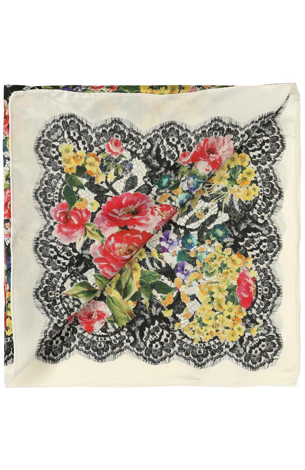 Шелковый платок с принтом Dolce & Gabbana разноцветный   Фото №2