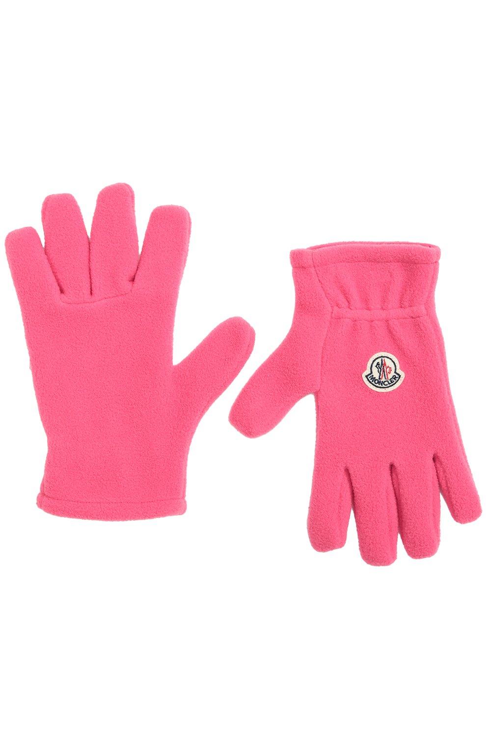 Детские флисовые перчатки с логотипом бренда MONCLER ENFANT фуксия цвета, арт. B2-954-00567-05-80380 | Фото 2
