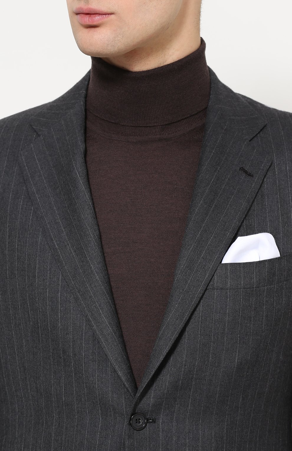1c71f6097e2 Мужской темно-серый кашемировый костюм в полоску KITON — купить за ...