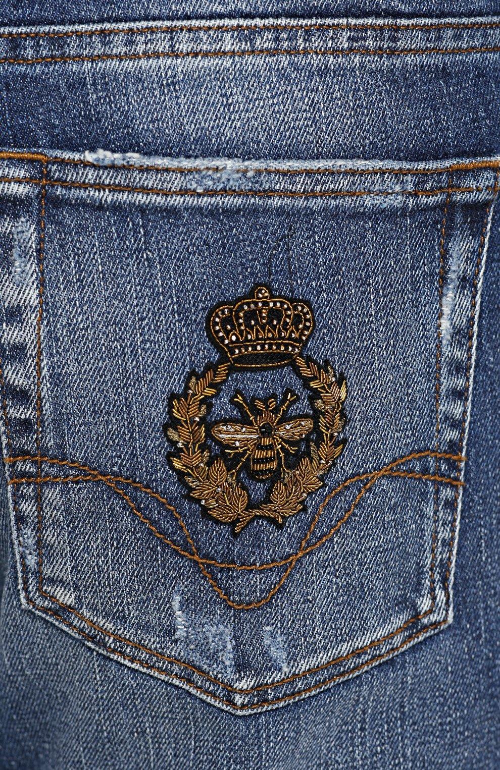 Зауженные джинсы с потертостями и вышивкой | Фото №5