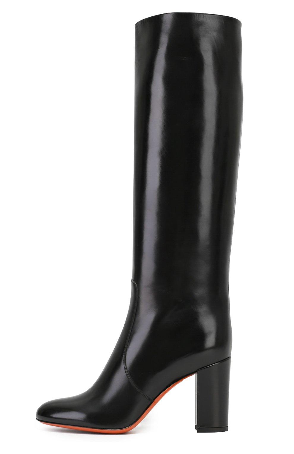 76d78427f Женские черные кожаные сапоги на устойчивом каблуке SANTONI — купить ...