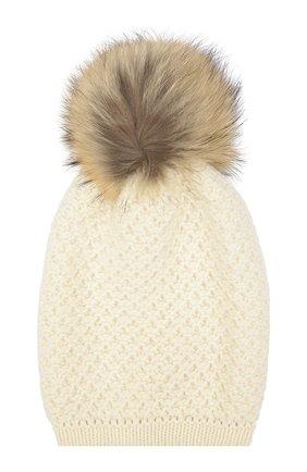 Вязаная шапка из смеси шерсти и кашемира с меховым помпоном | Фото №1