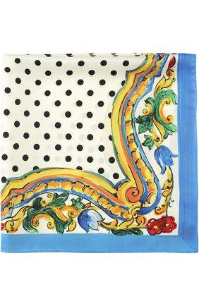 Шелковый платок с принтом Dolce & Gabbana черно-белый | Фото №1