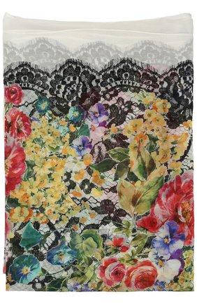Шелковый шарф с принтом Dolce & Gabbana разноцветный | Фото №2