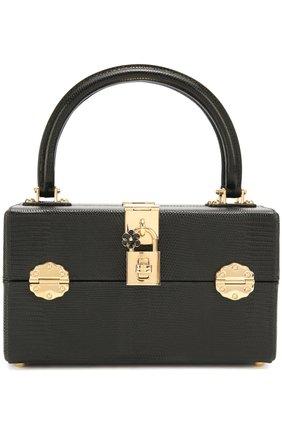Сумка Dolce Dox из тисненой кожи Dolce & Gabbana черного цвета | Фото №1