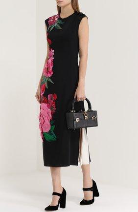 Сумка Dolce Dox из тисненой кожи Dolce & Gabbana черного цвета | Фото №2