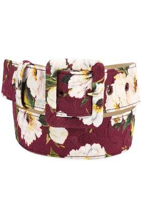 Ремень с цветочным принтом Dolce & Gabbana бордовый | Фото №1