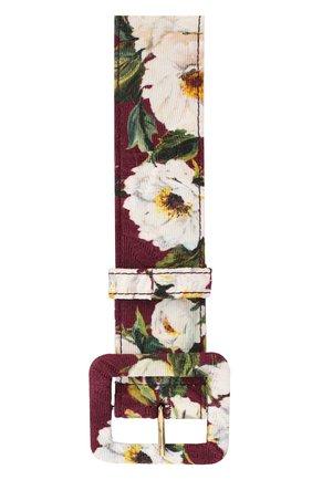 Ремень с цветочным принтом Dolce & Gabbana бордовый | Фото №2