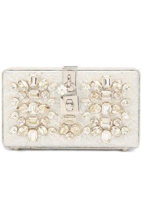 Клатч Dolce Box с отделкой стразами Dolce & Gabbana серебряного цвета | Фото №1