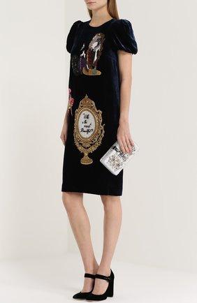 Клатч Dolce Box с отделкой стразами Dolce & Gabbana серебряного цвета | Фото №2