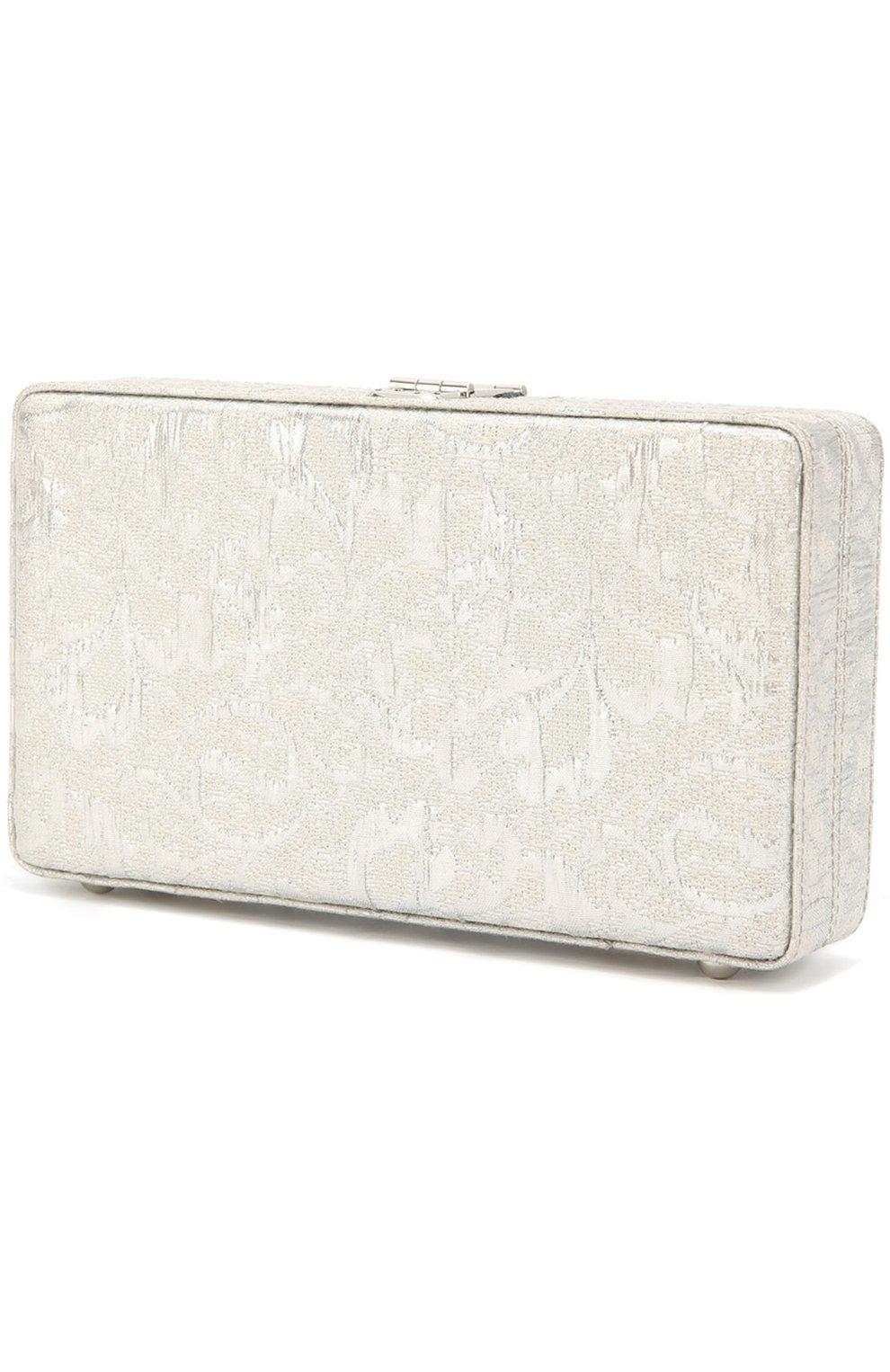 Клатч Dolce Box с отделкой стразами Dolce & Gabbana серебряного цвета | Фото №3