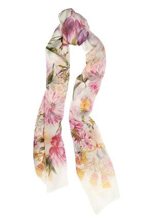 Шелковый шарф с принтом Dolce & Gabbana белый   Фото №1